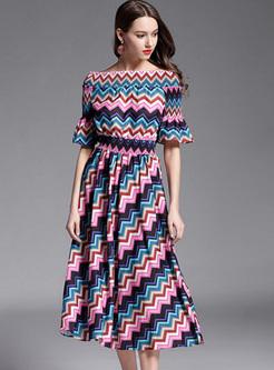 Rainbow Striped Elastic Waist A line Dress