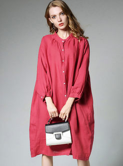 Casual Stand Collar Long Sleeve Loose Dress