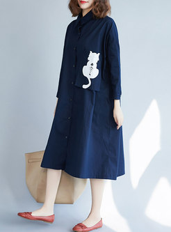 Casual Cat Print Lapel Single-breasted Shift Dress