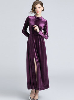 Vintage Standing Collar Velvet Pleated Maxi Dress