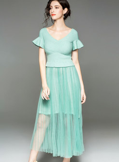 Trendy Flare Sleeve Gathered Waist Mesh Semi-sheer Dress
