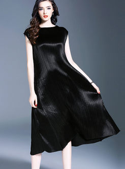 Black Elegant Sleeveless O-neck Hem Pleated Dress