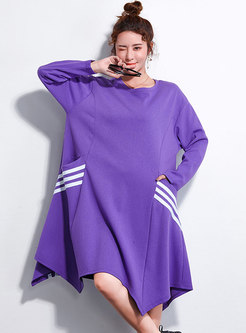 Striped Splicing O-neck Asymmetric Hem Loose Dress