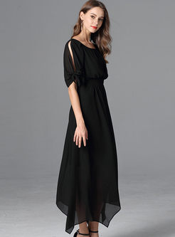 Chiffon Gathered Waist Asymmetric Plus Size Dress