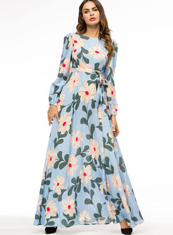 O-neck Long Sleeve Print Big Hem Maxi Dress