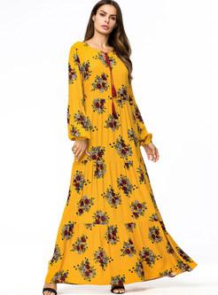 Casual Long Sleeve Big Hem Print Maxi Dress