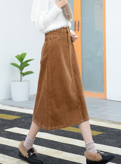 Trendy Autumn Pure Color Skirt With Pocket