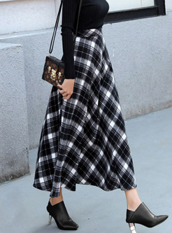 Winter Woolen Ankle-length Big Hem Plaid Skirt