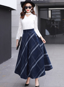 Stylish High Waist Plaid A Line Skirt
