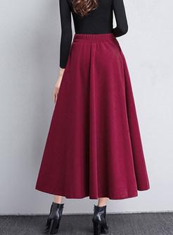 Brief Solid Color Big Hem Woolen Skirt