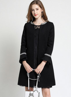 Stylish Color-blocked O-neck Flare Sleeve Slim Coat