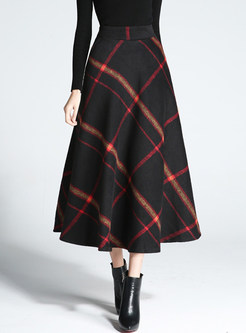 Chic Color-blocked Plaid Thick Woolen Skirt
