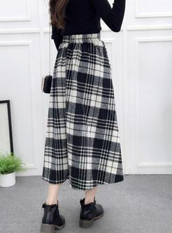 High Waist Plaid Woolen Big Hem A Line Skirt