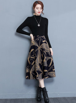 Trendy Plus Size Color-blocked Print Mid-claf Skirt