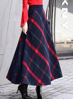Vintage Color-blocked Plaid Thick Woolen Skirt