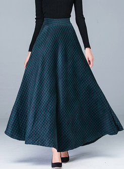 Stylish High Waist Houndstooth Big Hem Skirt