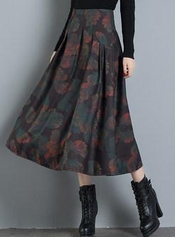 Vintage Print Plus Size Pleated A Line Skirt