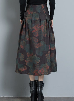 Vintage Print Plus Size Pleated A Line Skirt