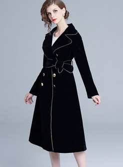 Trendy Lapel Tie-waist Velvet Knee-length Coat