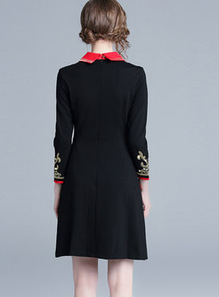 Stylish Hit Color Embroidered A Line Dress