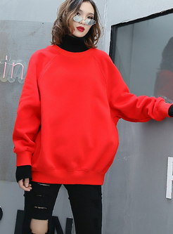 Casual Color-blocked High Neck Thick Sweatshirt