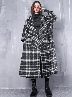 Fashionable Grid V-neck Loose Woolen Coat