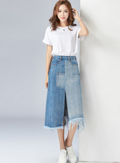Chic Color-blocked High Waist Tassel Slit Denim Skirt