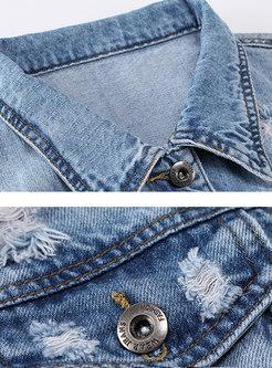 Stylish Denim Lapel Holes Short Jacket