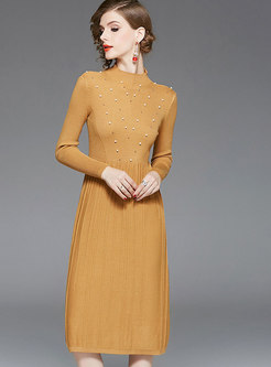 Casual Yellow Half High Neck Beaded Knitted Dress