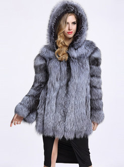 Hooded Single-breasted Faux Fur Coat