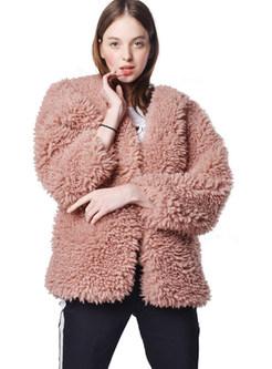Pure Color V-neck Long Sleeve Loose Coat