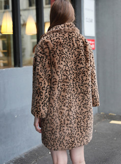 Stylish Notched Long Sleeve Loose Leopard Fur Coat