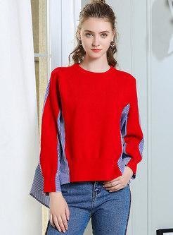 Striped Splicing O-neck Asymmetric Sweater
