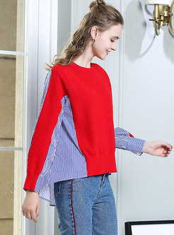Striped Splicing O-neck Asymmetric Sweater