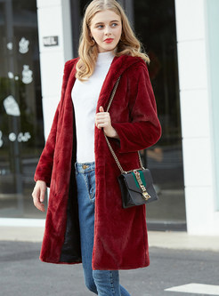 Solid Color Hooded Long Teddy Coat