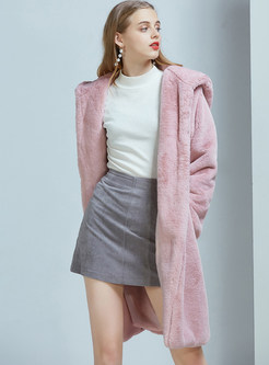 Hooded Long Sleeve Loose Long Fur Overcoat