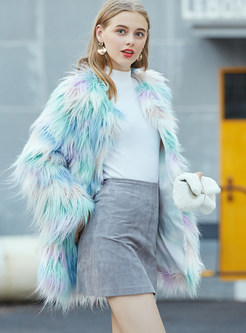 Winter V-neck Color-blocked Faux Fur Coat