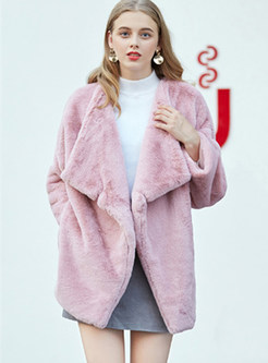 Pure Color Lapel Loose Teddy Coat