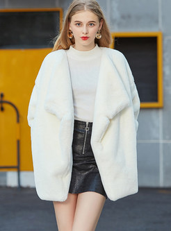 Stylish Turn Down Collar Faux Shearling Coat