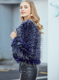 Blue O-neck Long Sleeve Faux Fur Coat