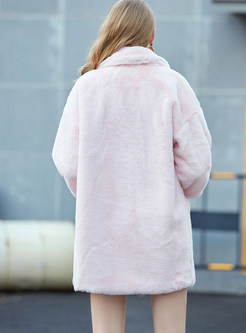 Pure Color Notched Loose Teddy Coat