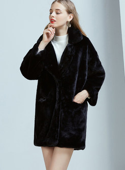 Stylish Long Sleeve Loose Fur Coat With Coat