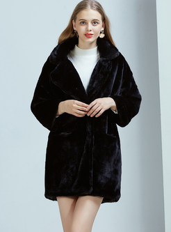 Black Long Sleeve Loose Teddy Coat
