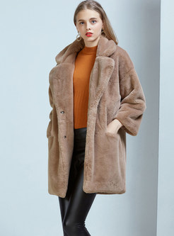 Notched Long Sleeve Teddy Coat