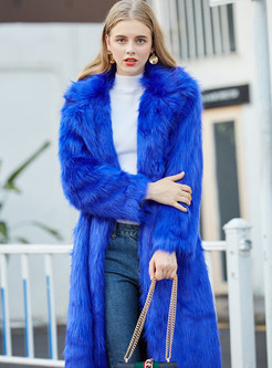 Blue Notched Long Sleeve Slim Fur Coat