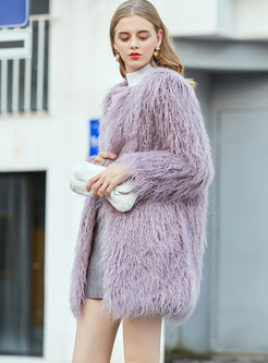 Sweet O-neck Long Sleeve Loose Reqular Fur Coat