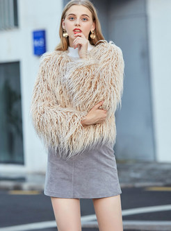 V-neck Long Sleeve Faux Fur Coat