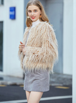 Fashion V-neck Long Sleeve Short Fur Coat