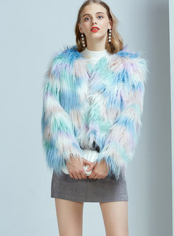 Sweet Color-blocked Long Sleeve Faux Fur Coat