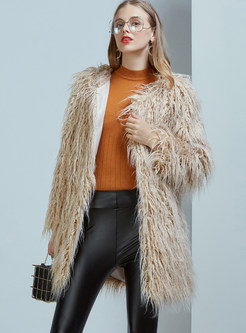 Khaki Long Sleeve Slim Faux Fur Coat